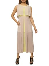 Beige And Yellow Polychiffon Maxi Dress - The Style Aisle