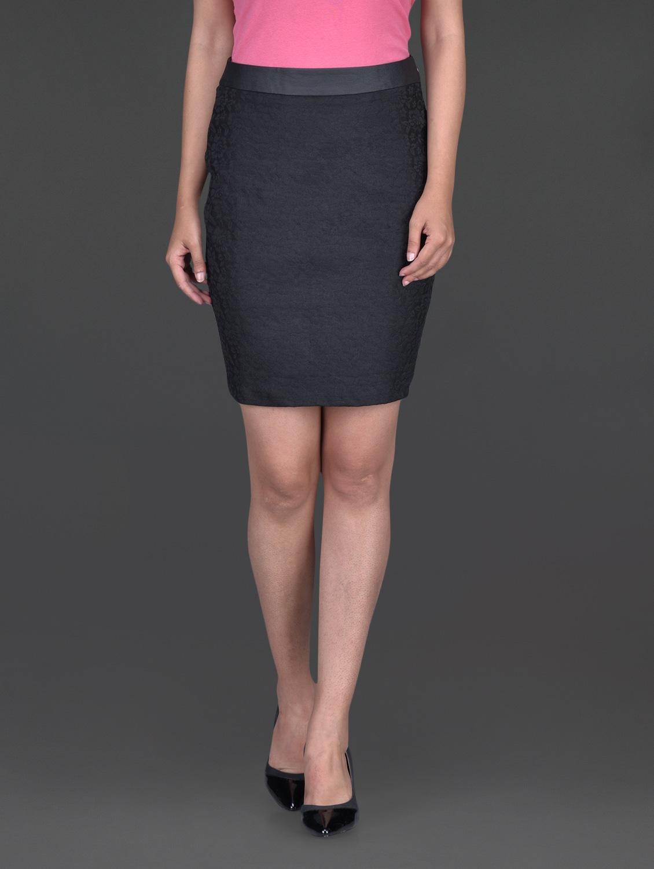 Solid Black Lace Pencil Skirt - Bella Rosa