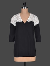 Lace Yoke V-neck Black Top - Bella Rosa