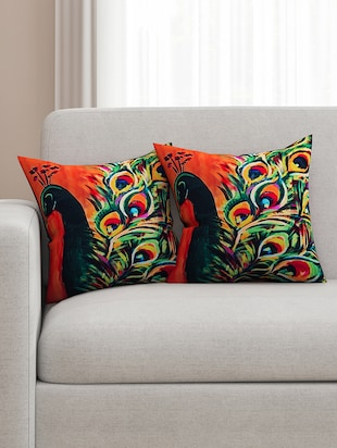 orange and green cotton printed cushion cover (set of 2)
