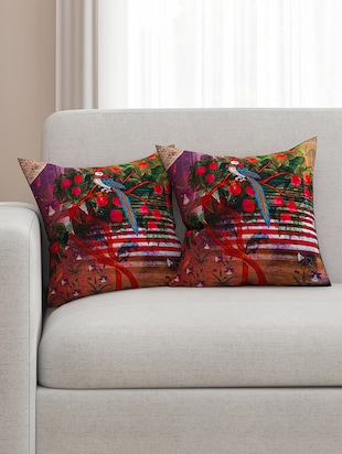 multicoloured cotton printed cushion cover (set of 2)