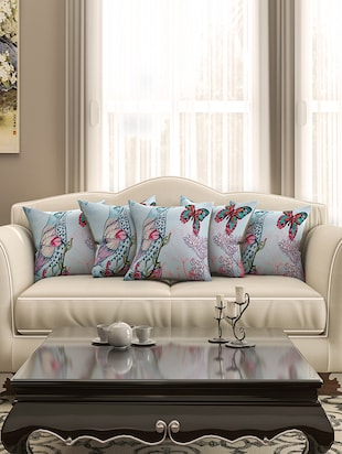 powder blue cotton printed cushion cover (set of 5)