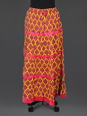 Yellow Cotton Printed Long Skirt - Parinita