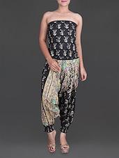 Black Cotton Printed Dress - Parinita
