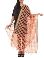 Red Cotton Dupatta - By