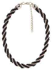 Black Beaded Metallic Necklace - Stol'n