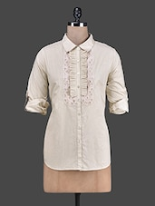 Sand Cotton Shirt With Lace Detail - RENA LOVE