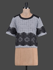 Grey Plaid And Black Lace Boxy Top - RENA LOVE