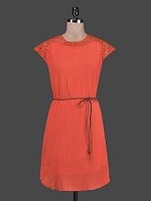 Cutwork Detailed Rust Orange Cotton Dress - By