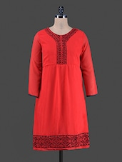 Long Sleeve Solid Color Embroidered Neckline And Border Dress - Eternal Dresess