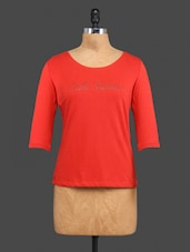 Red Beaded Plain Cotton Top - CULT FICTION
