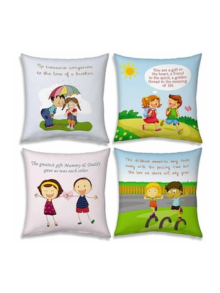 multi colored printed cushions set of 4