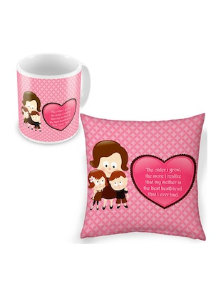 pink printed cushion with mug