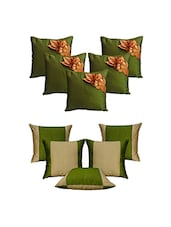 Set Of 10 Green Floral  Cushion Cover - By