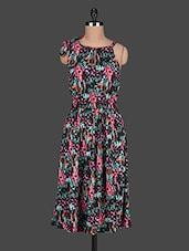 Sleeveless Printed Gathered Midi Dress - Ozel Studio