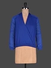 Solid Blue Overlap Neck Georgette Top - Ozel Studio