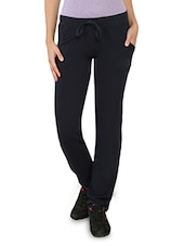 Solid Navy Blue Cotton Blend Track Pants - My Secret
