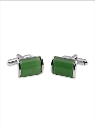 solid green metal alloy cufflink
