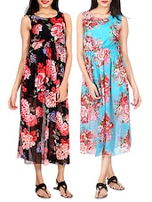 set of 2 multicolored printed georgette dress -  online shopping for Dresses