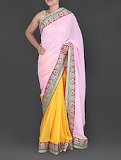 Baby Pink And Yellow Georgette Saree With Heavy Border - Siya