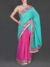 Mint Green And Fuchsia Georgette Saree - Siya