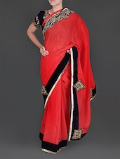 Red Crepe And Navy Blue Velvet Saree - Siya