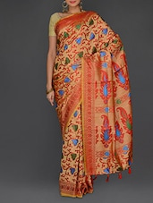 Multicolored Manipuri Silk  Royal Work Saree - Parichay