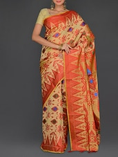 Multicolored Manipuri Silk  Temple Buti Saree - Parichay