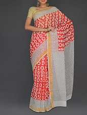 Red Cotton Polka Printed Kerala  Saree - Parichay