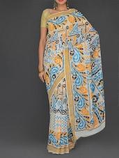 Multicolored Cotton Kalka Printed Kerala  Saree - Parichay