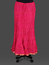 Pink Leheriya Print Cotton Long Skirt - Soundarya