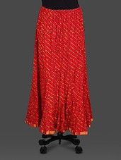 Red Leheriya Print Cotton Long Skirt - Soundarya