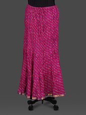 Magenta Leheriya Print Cotton Long Skirt - By