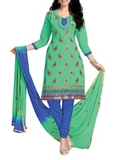 Green And Blue Embroidered Cotton Suit Set - Ewows