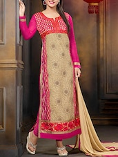 Beige & Pink Embroidered Georgette Suit Set - Ewows