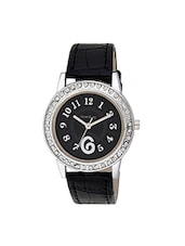black leather analog wrist watch -  online shopping for Wrist watches