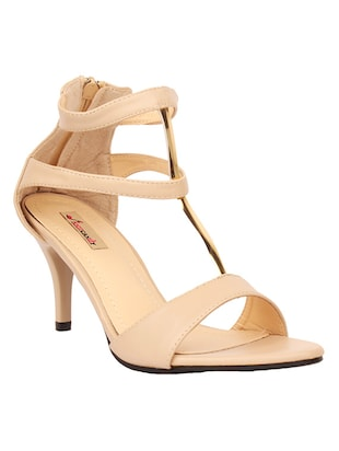 solid beige leather sandals