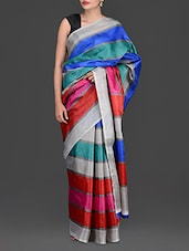 Multicolored Striped Bhagalpuri Art Silk Saree - Purple Oyster
