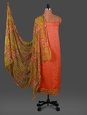Orange Printed Chanderi Dress Material - By