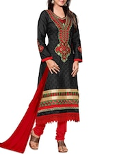 Red Embroidered Black Unstitched Suit Set - PARISHA