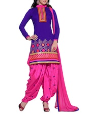 Purple Chanderi Unstitched Patiala Suit Set - PARISHA