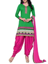 Green Chanderi Unstitched Patiala Suit Set - PARISHA