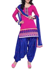 Pink Chanderi Unstitched Patiala Suit Set - PARISHA