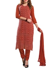 Lace Overlay Unstitched Cotton Suit Set - By - 1162401