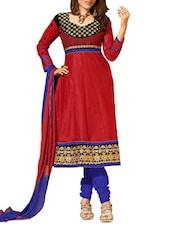 Red Embroidered Cotton Unstitched Anarkali Suit Set - PARISHA