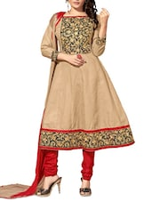 Beige Embroidered Cotton Unstitched Anarkali Suit Set - PARISHA