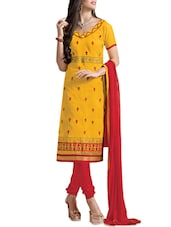 Yellow Embroidered Jacquard Silk Chanderi Unstitched Patiala Suit Set - PARISHA