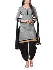 Grey Embroidered Jacquard Silk Chanderi Unstitched Patiala Suit Set - PARISHA