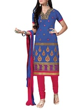 Blue Embroidered Jacquard Silk Chanderi Unstitched Patiala Suit Set - PARISHA