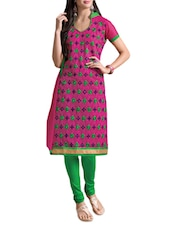 Pink Embellished Embroidered Jacquard Silk Chanderi Unstitched Patiala Suit Set - PARISHA